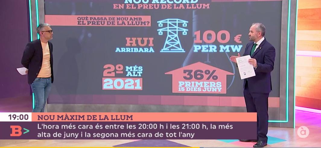 """El decano del COIICV explica en el programa """"Bona Vesprada"""" de À Punt a qué se debe el alto precio de la electricidad"""